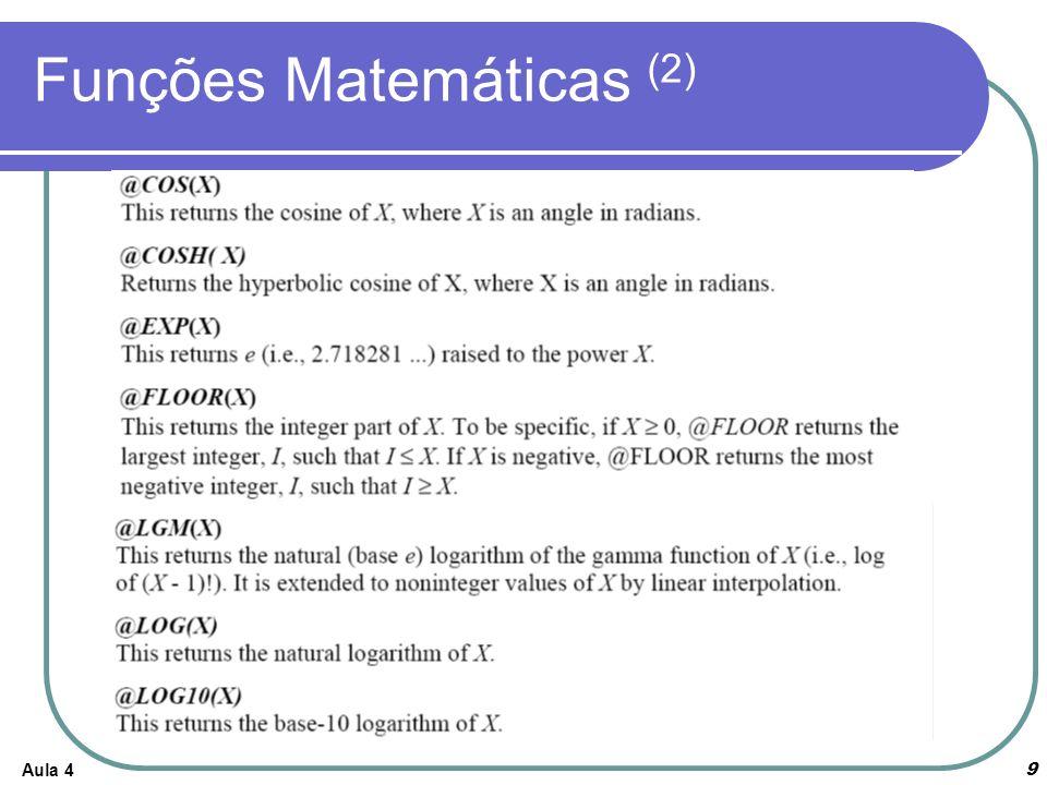 Aula 4 9 Funções Matemáticas (2)