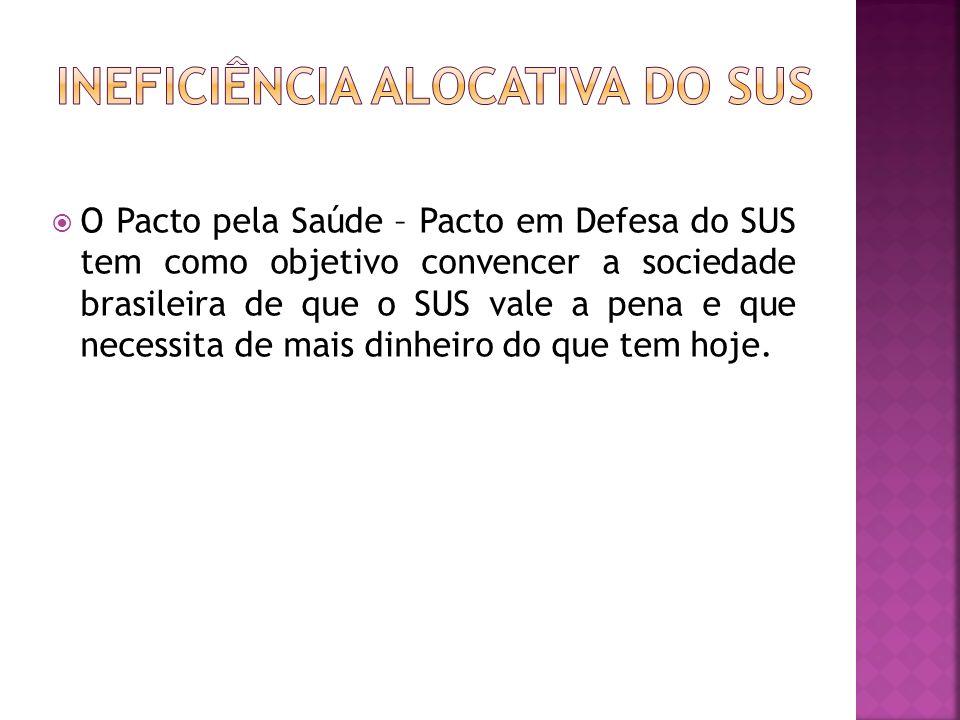 O Pacto pela Saúde – Pacto em Defesa do SUS tem como objetivo convencer a sociedade brasileira de que o SUS vale a pena e que necessita de mais dinhei