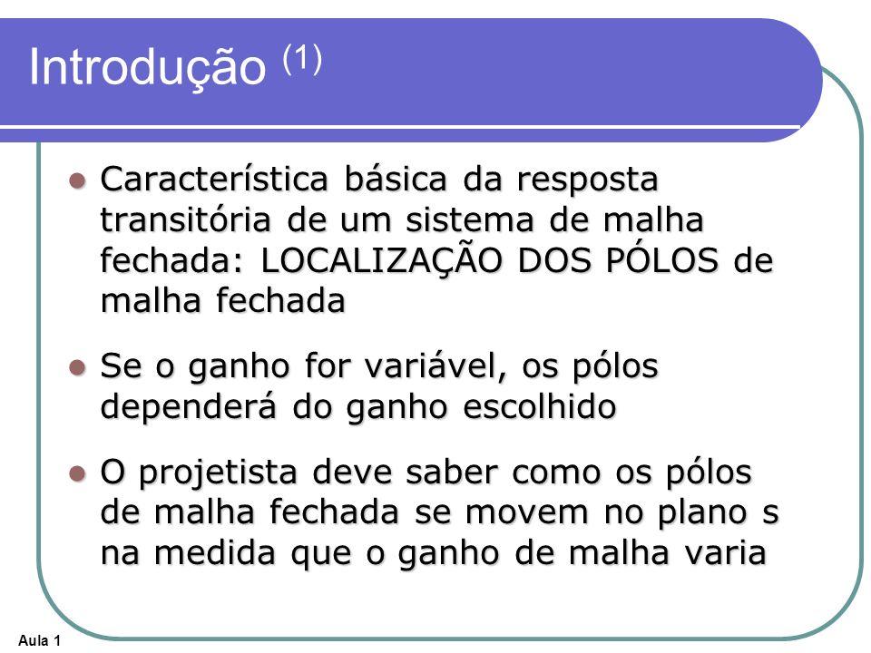 Aula 1 Introdução (1) Característica básica da resposta transitória de um sistema de malha fechada: LOCALIZAÇÃO DOS PÓLOS de malha fechada Característ