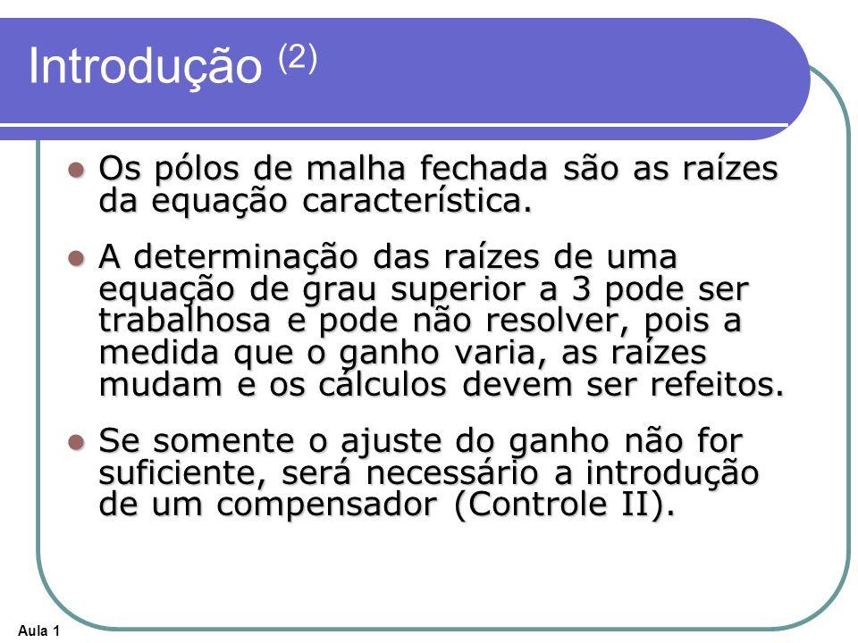 Aula 1 Introdução (2) Os pólos de malha fechada são as raízes da equação característica. Os pólos de malha fechada são as raízes da equação caracterís