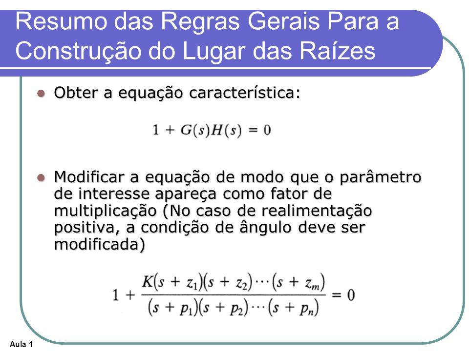 Aula 1 Resumo das Regras Gerais Para a Construção do Lugar das Raízes Obter a equação característica: Obter a equação característica: Modificar a equa