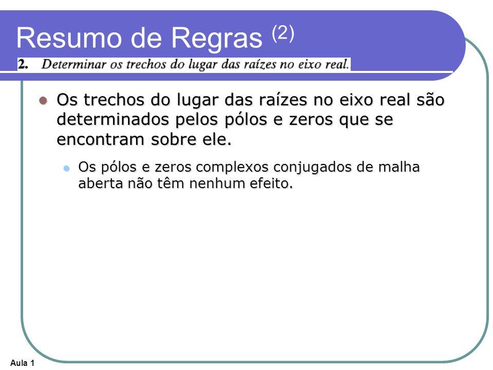 Aula 1 Resumo de Regras (2) Os trechos do lugar das raízes no eixo real são determinados pelos pólos e zeros que se encontram sobre ele. Os trechos do