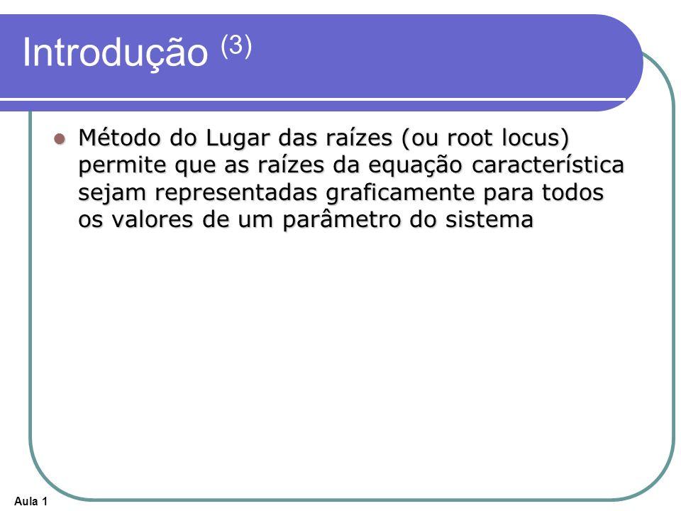 Aula 1 Introdução (3) Método do Lugar das raízes (ou root locus) permite que as raízes da equação característica sejam representadas graficamente para