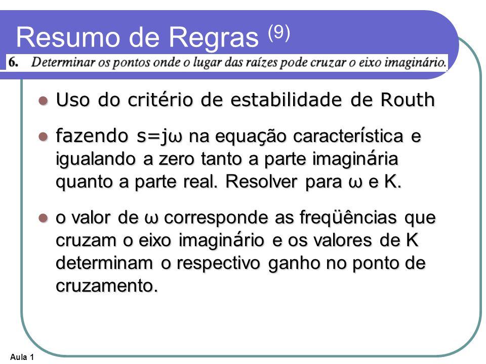 Aula 1 Resumo de Regras (9) Uso do critério de estabilidade de Routh Uso do critério de estabilidade de Routh fazendo s=j ω na equa ç ão caracter í st