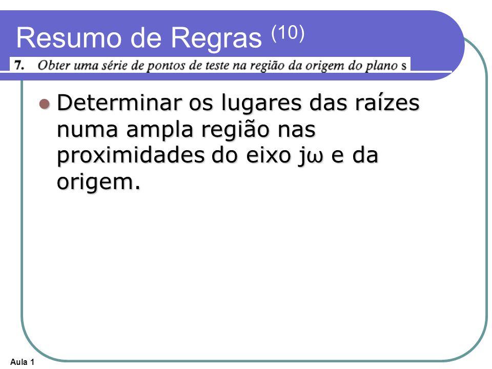 Aula 1 Resumo de Regras (10) Determinar os lugares das raízes numa ampla região nas proximidades do eixo j ω e da origem. Determinar os lugares das ra