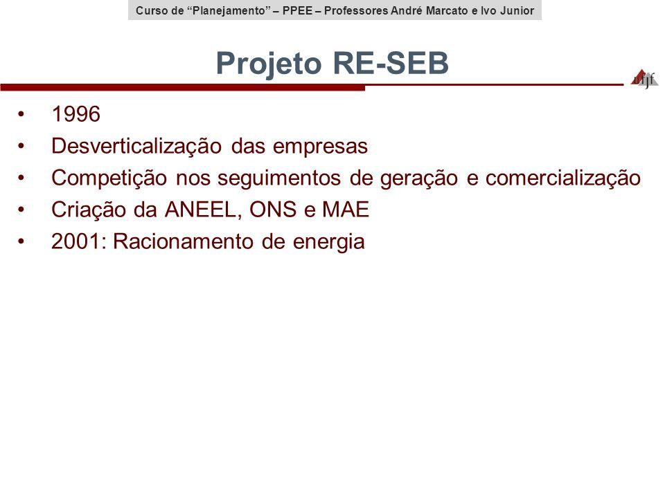 Curso de Planejamento – PPEE – Professores André Marcato e Ivo Junior Projeto RE-SEB 1996 Desverticalização das empresas Competição nos seguimentos de