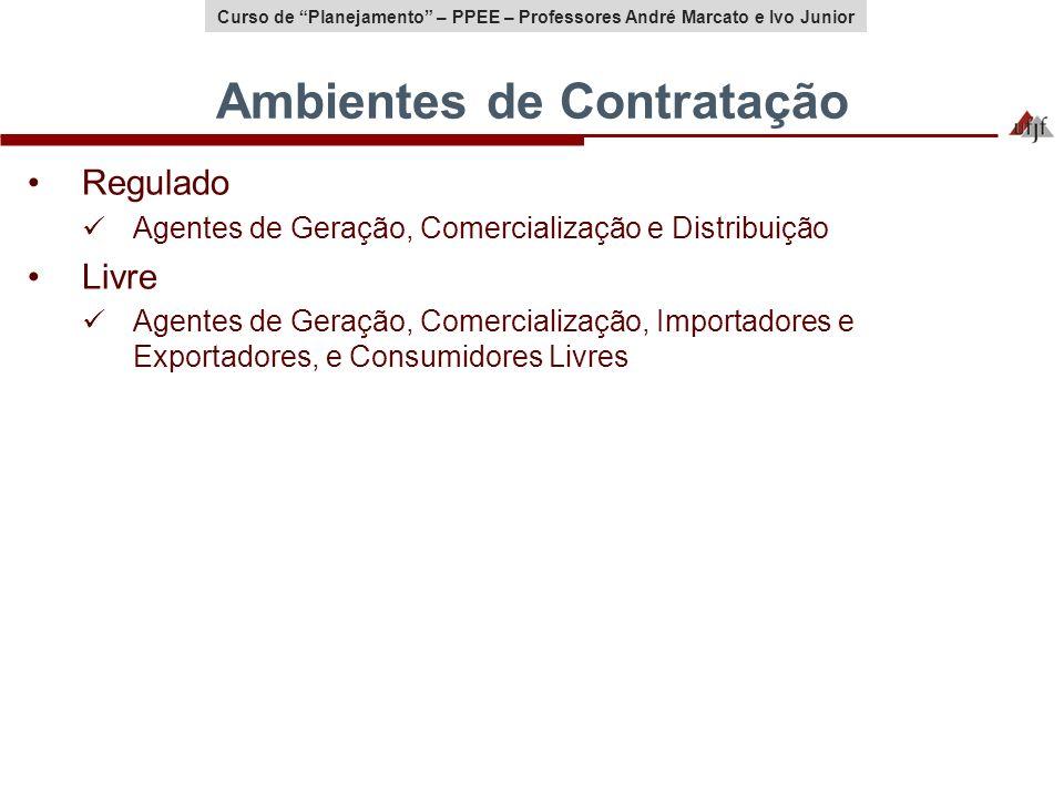 Curso de Planejamento – PPEE – Professores André Marcato e Ivo Junior Ambientes de Contratação Regulado Agentes de Geração, Comercialização e Distribu