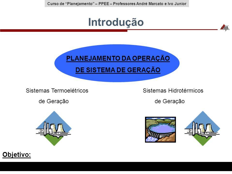 Curso de Planejamento – PPEE – Professores André Marcato e Ivo Junior Introdução PLANEJAMENTO DA OPERAÇÃO DE SISTEMA DE GERAÇÃO Sistemas Termoelétrico