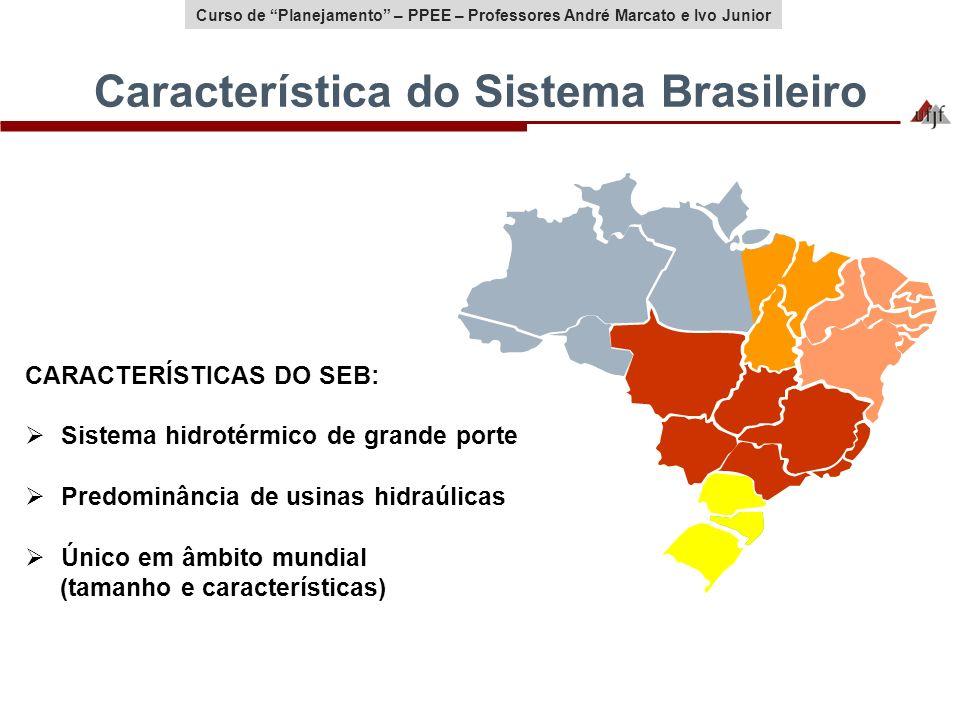 Curso de Planejamento – PPEE – Professores André Marcato e Ivo Junior Característica do Sistema Brasileiro CARACTERÍSTICAS DO SEB: Sistema hidrotérmic