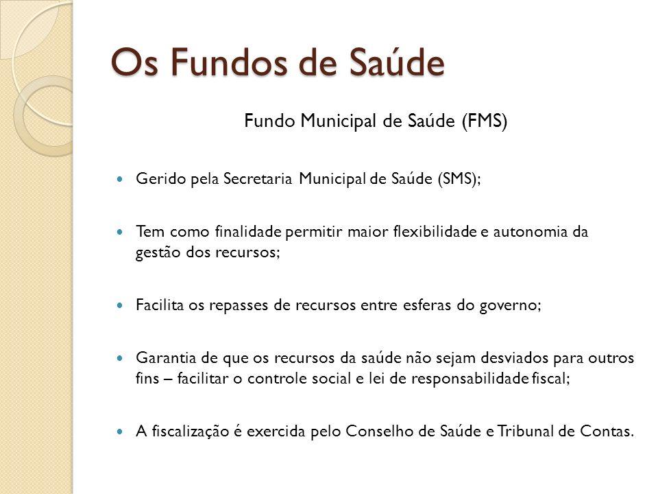 Os Fundos de Saúde Fundo Municipal de Saúde (FMS) Gerido pela Secretaria Municipal de Saúde (SMS); Tem como finalidade permitir maior flexibilidade e