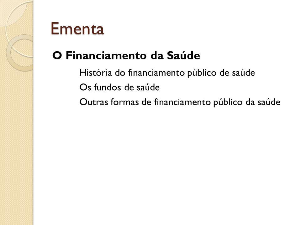 Ementa O Financiamento da Saúde História do financiamento público de saúde Os fundos de saúde Outras formas de financiamento público da saúde