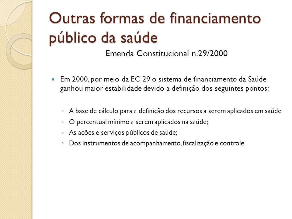 Outras formas de financiamento público da saúde Emenda Constitucional n.29/2000 Em 2000, por meio da EC 29 o sistema de financiamento da Saúde ganhou