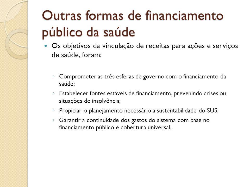 Outras formas de financiamento público da saúde Os objetivos da vinculação de receitas para ações e serviços de saúde, foram: Comprometer as três esfe