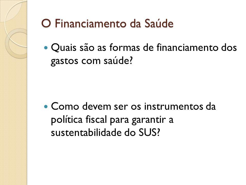 O Financiamento da Saúde Quais são as formas de financiamento dos gastos com saúde? Como devem ser os instrumentos da política fiscal para garantir a