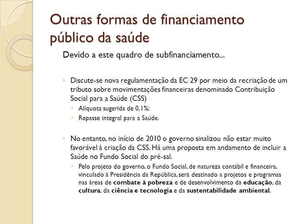 Outras formas de financiamento público da saúde Devido a este quadro de subfinanciamento... Discute-se nova regulamentação da EC 29 por meio da recria