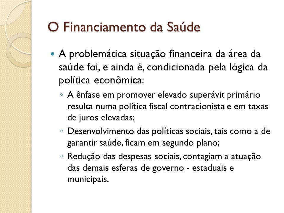 O Financiamento da Saúde A problemática situação financeira da área da saúde foi, e ainda é, condicionada pela lógica da política econômica: A ênfase