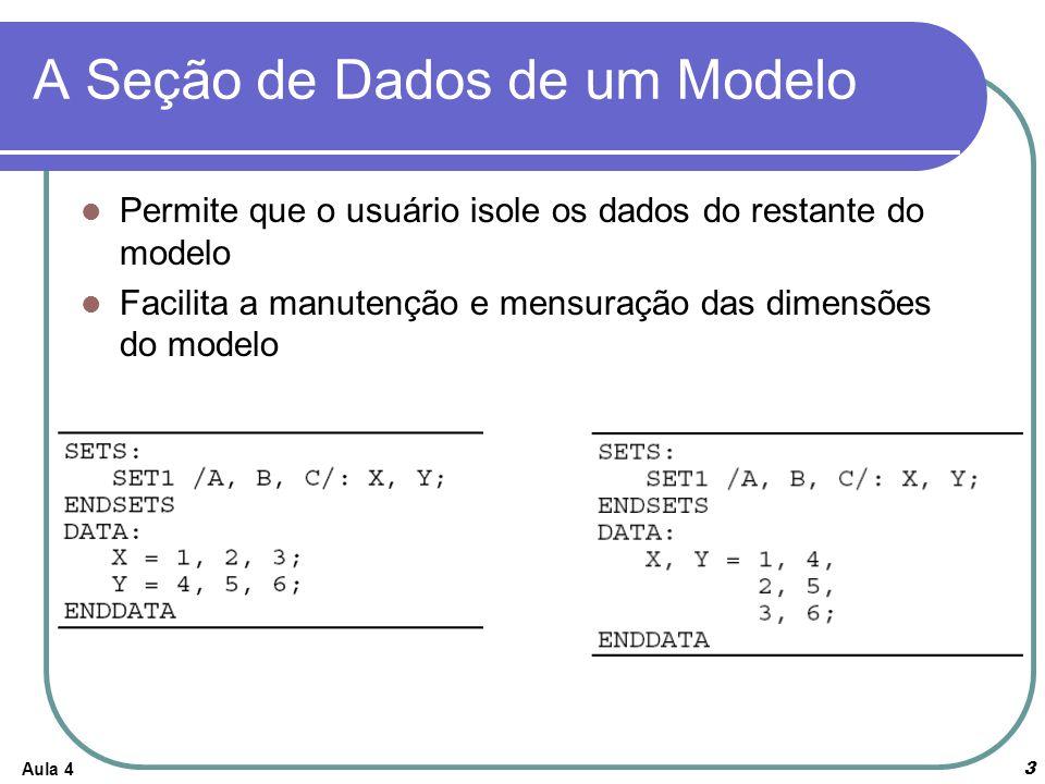 Aula 44 A Seção de Dados de Um Modelo É permitido que os membros do conjunto e os valores de seus parâmetros sejam estabelecidos na mesma seção de dados.