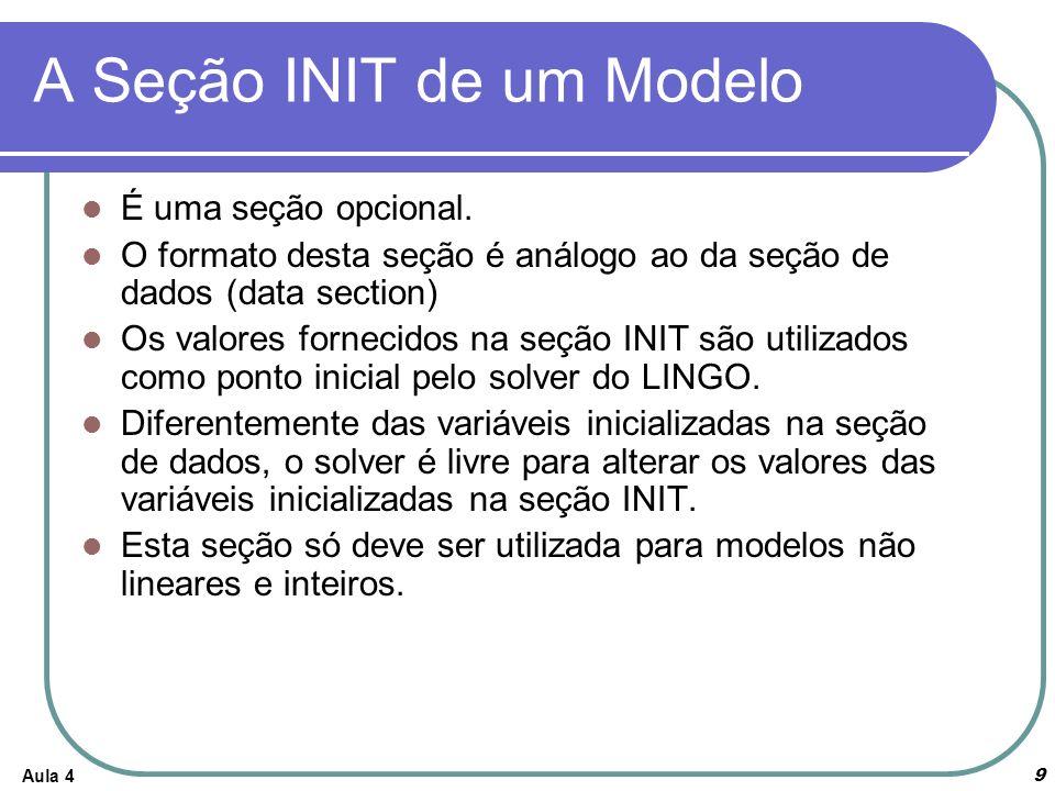 Aula 49 A Seção INIT de um Modelo É uma seção opcional. O formato desta seção é análogo ao da seção de dados (data section) Os valores fornecidos na s