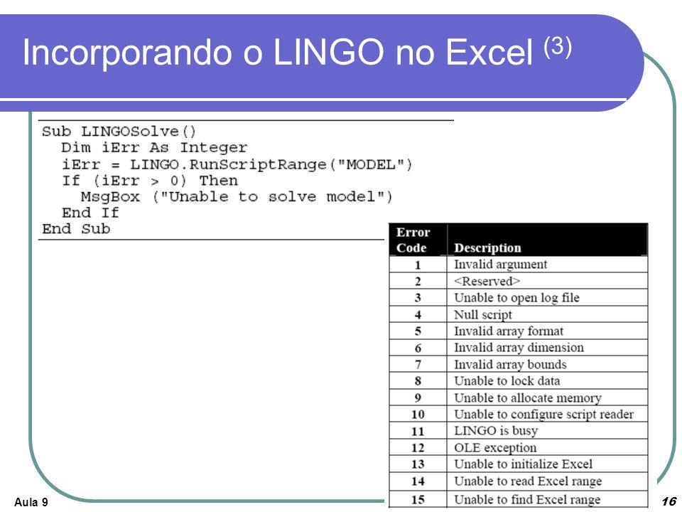 Aula 916 Incorporando o LINGO no Excel (3)