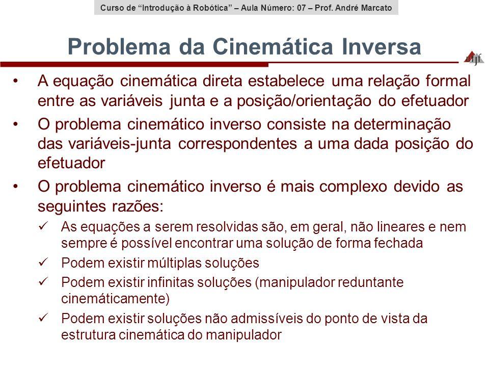 Curso de Introdução à Robótica – Aula Número: 07 – Prof. André Marcato Problema da Cinemática Inversa A equação cinemática direta estabelece uma relaç