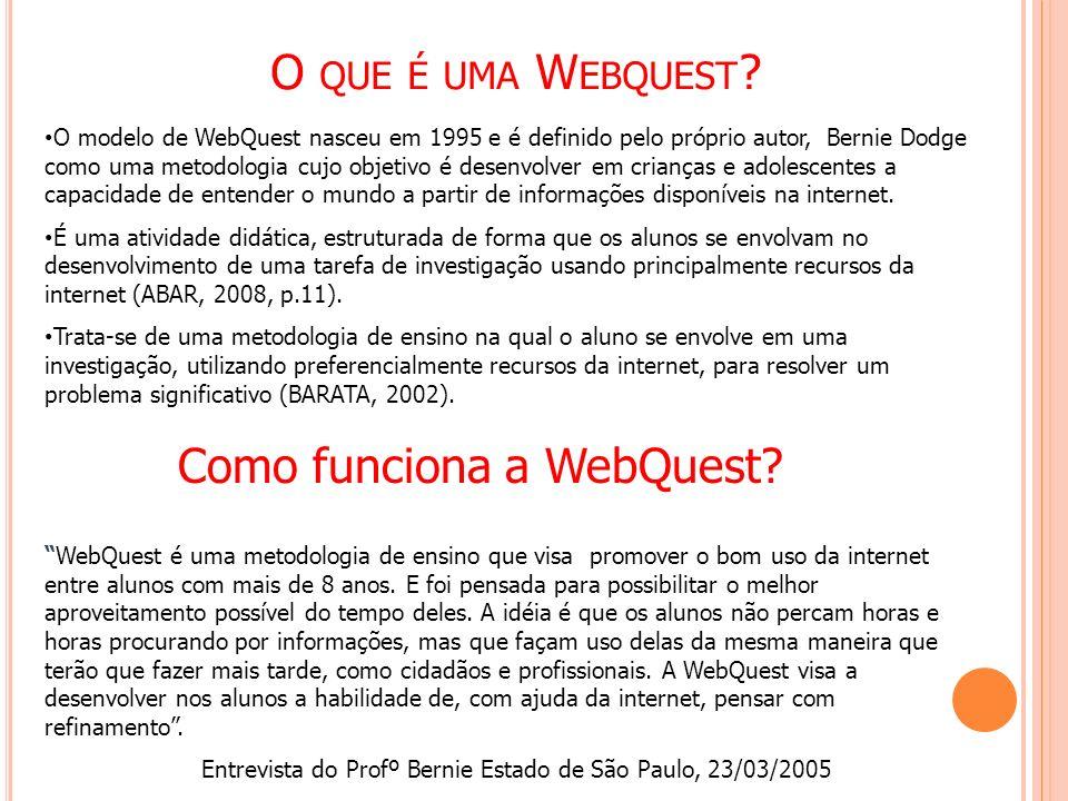 O QUE É UMA W EBQUEST ? O modelo de WebQuest nasceu em 1995 e é definido pelo próprio autor, Bernie Dodge como uma metodologia cujo objetivo é desenvo