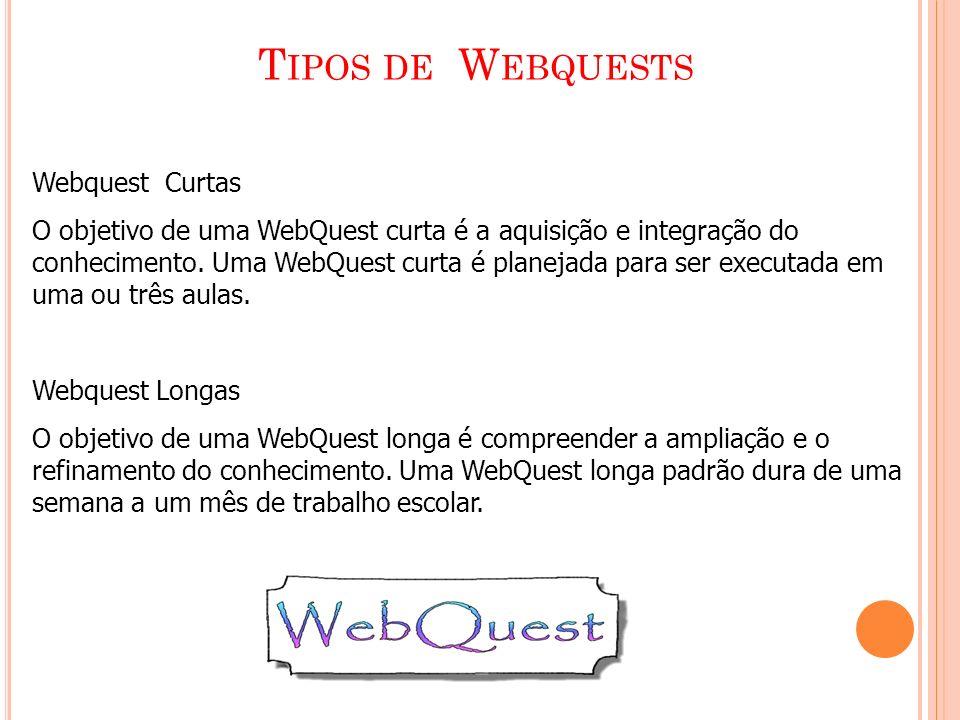 T IPOS DE W EBQUESTS Webquest Curtas O objetivo de uma WebQuest curta é a aquisição e integração do conhecimento. Uma WebQuest curta é planejada para