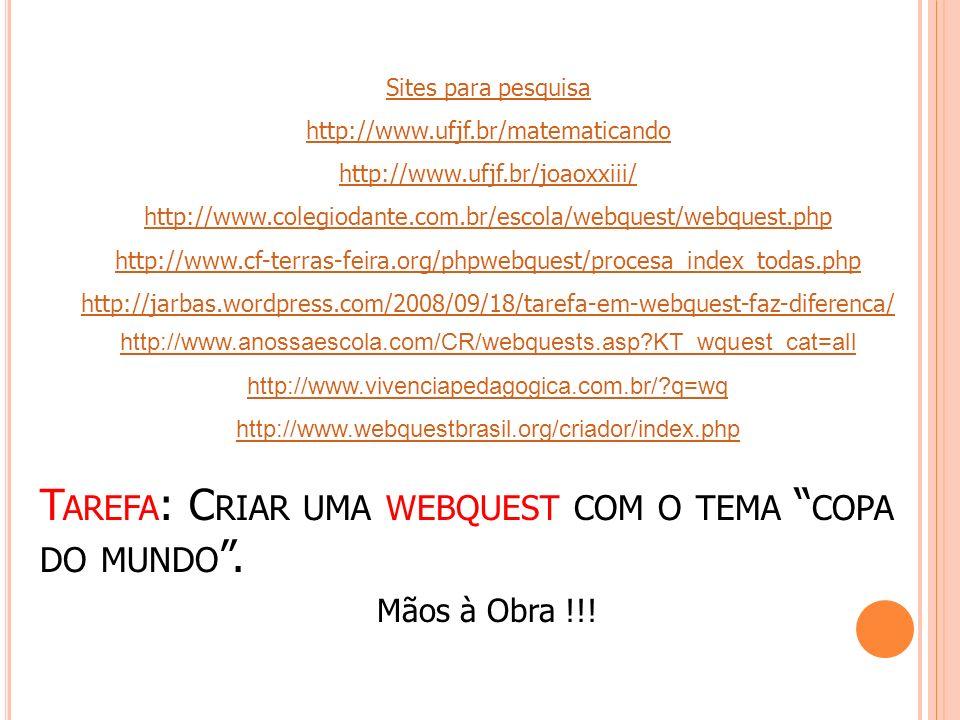 T AREFA : C RIAR UMA WEBQUEST COM O TEMA COPA DO MUNDO. Sites para pesquisa http://www.ufjf.br/matematicando http://www.ufjf.br/joaoxxiii/ http://www.