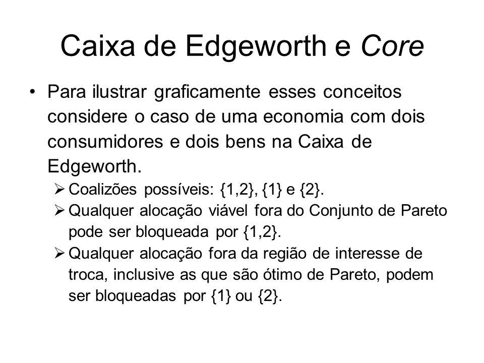 Caixa de Edgeworth e Core Para ilustrar graficamente esses conceitos considere o caso de uma economia com dois consumidores e dois bens na Caixa de Edgeworth.