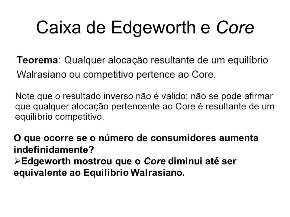 Caixa de Edgeworth e Core O que ocorre se o número de consumidores aumenta indefinidamente? Edgeworth mostrou que o Core diminui até ser equivalente a
