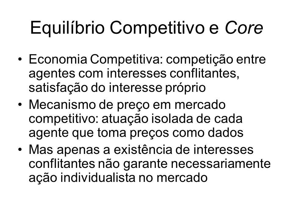 Equilíbrio Competitivo e Core Economia Competitiva: competição entre agentes com interesses conflitantes, satisfação do interesse próprio Mecanismo de