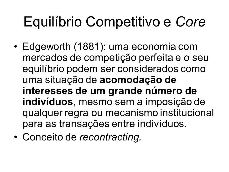 Equilíbrio Competitivo e Core Edgeworth (1881): uma economia com mercados de competição perfeita e o seu equilíbrio podem ser considerados como uma situação de acomodação de interesses de um grande número de indivíduos, mesmo sem a imposição de qualquer regra ou mecanismo institucional para as transações entre indivíduos.