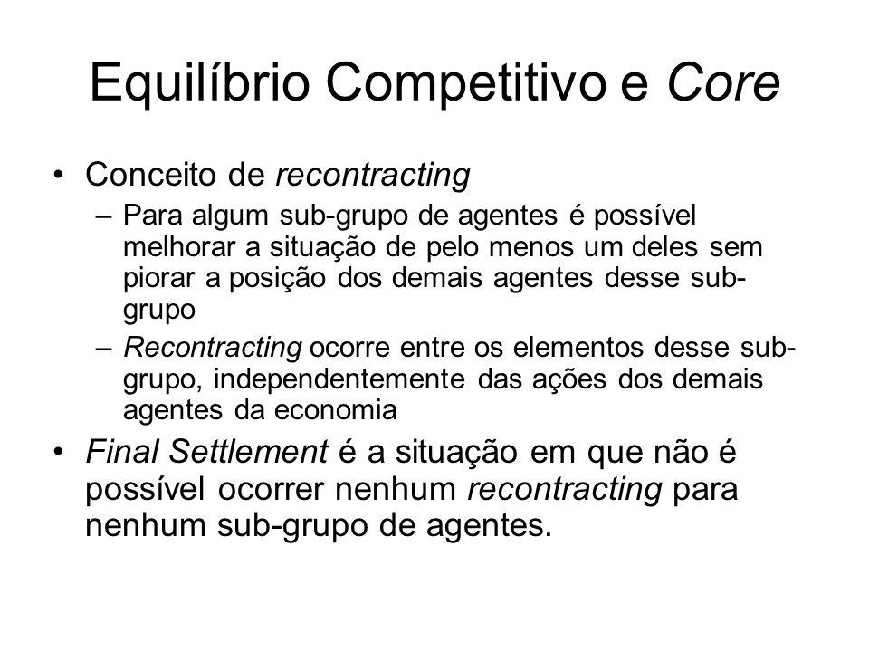 Equilíbrio Competitivo e Core Conceito de recontracting –Para algum sub-grupo de agentes é possível melhorar a situação de pelo menos um deles sem pio