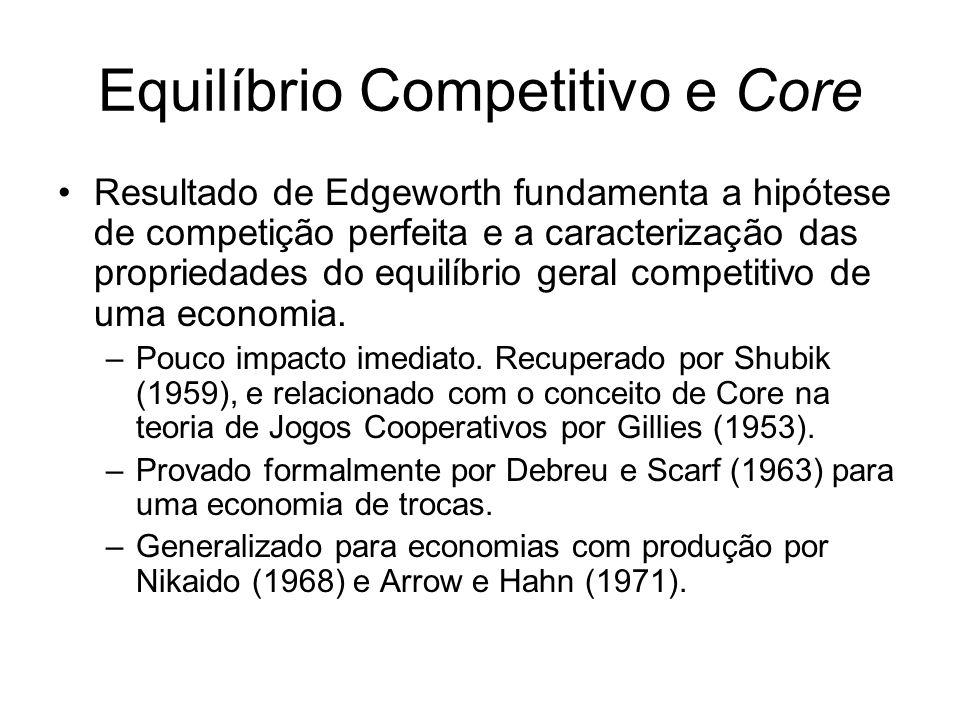 Equilíbrio Competitivo e Core Resultado de Edgeworth fundamenta a hipótese de competição perfeita e a caracterização das propriedades do equilíbrio geral competitivo de uma economia.