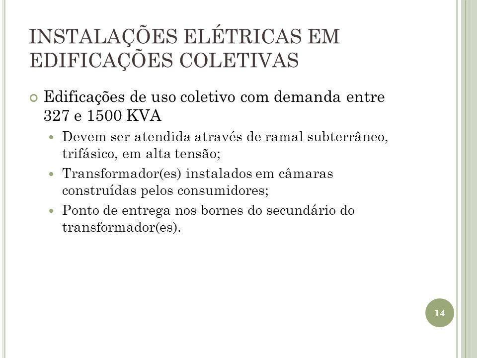 INSTALAÇÕES ELÉTRICAS EM EDIFICAÇÕES COLETIVAS Edificações de uso coletivo com demanda entre 327 e 1500 KVA Devem ser atendida através de ramal subter