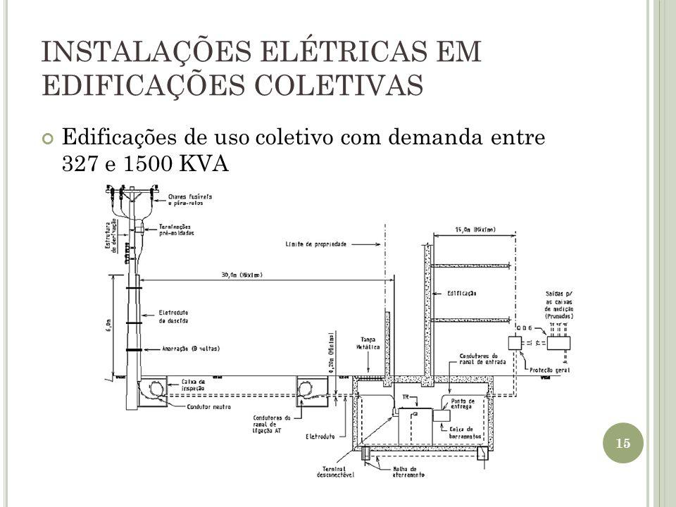 INSTALAÇÕES ELÉTRICAS EM EDIFICAÇÕES COLETIVAS Edificações de uso coletivo com demanda entre 327 e 1500 KVA 15