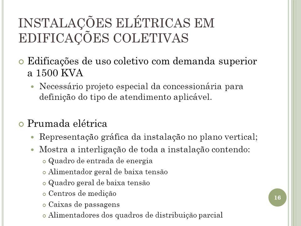 INSTALAÇÕES ELÉTRICAS EM EDIFICAÇÕES COLETIVAS Edificações de uso coletivo com demanda superior a 1500 KVA Necessário projeto especial da concessionár