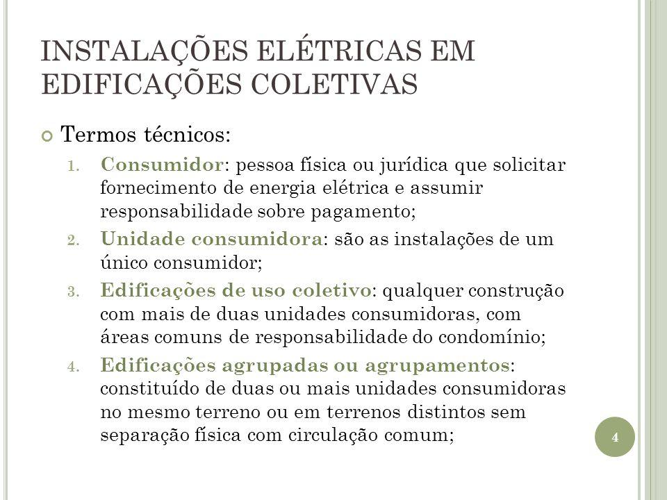 INSTALAÇÕES ELÉTRICAS EM EDIFICAÇÕES COLETIVAS Termos técnicos: 1. Consumidor : pessoa física ou jurídica que solicitar fornecimento de energia elétri
