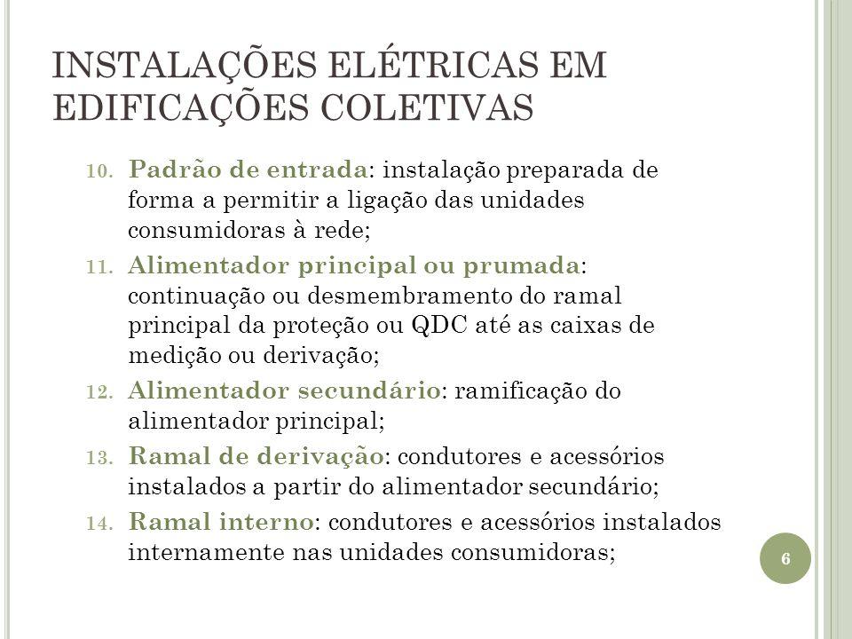INSTALAÇÕES ELÉTRICAS EM EDIFICAÇÕES COLETIVAS 10. Padrão de entrada : instalação preparada de forma a permitir a ligação das unidades consumidoras à