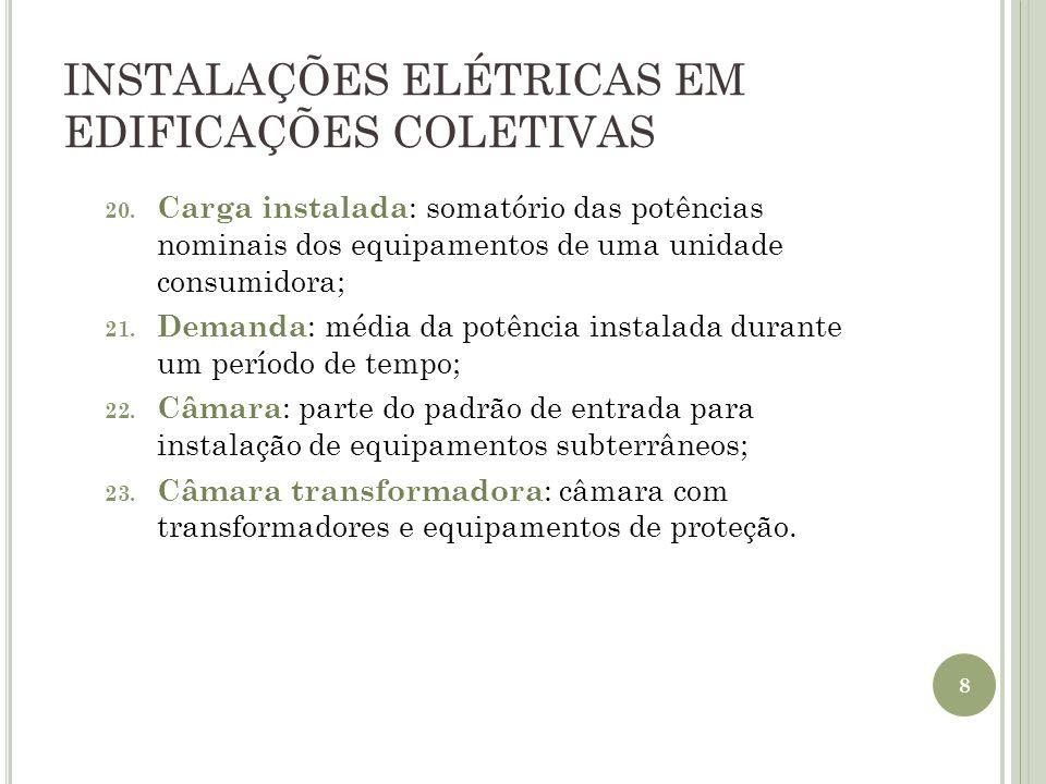 INSTALAÇÕES ELÉTRICAS EM EDIFICAÇÕES COLETIVAS 20. Carga instalada : somatório das potências nominais dos equipamentos de uma unidade consumidora; 21.