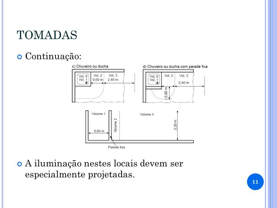 TOMADAS Continuação: A iluminação nestes locais devem ser especialmente projetadas. 11