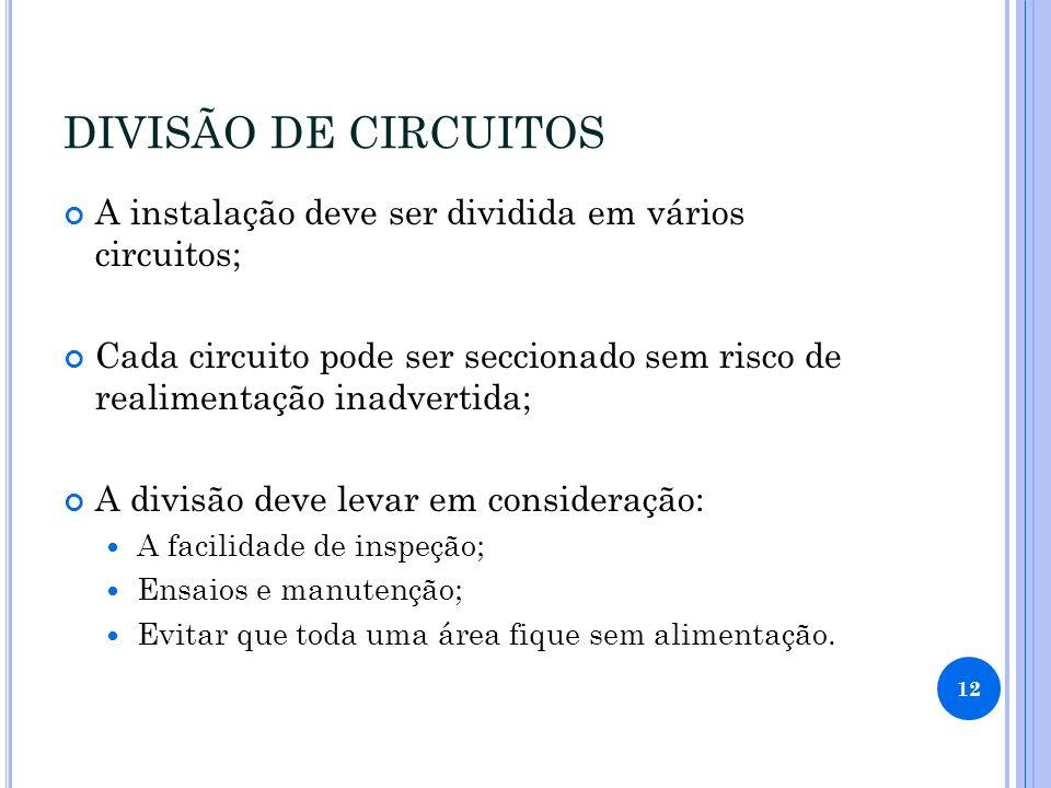 DIVISÃO DE CIRCUITOS A instalação deve ser dividida em vários circuitos; Cada circuito pode ser seccionado sem risco de realimentação inadvertida; A d