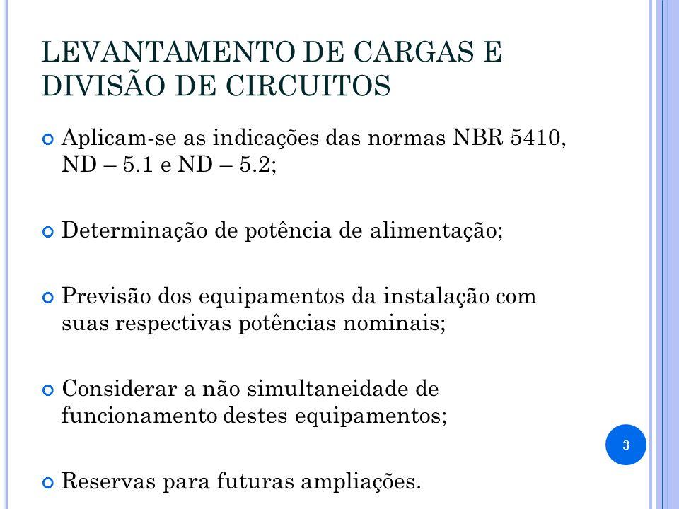 LEVANTAMENTO DE CARGAS E DIVISÃO DE CIRCUITOS Aplicam-se as indicações das normas NBR 5410, ND – 5.1 e ND – 5.2; Determinação de potência de alimentaç