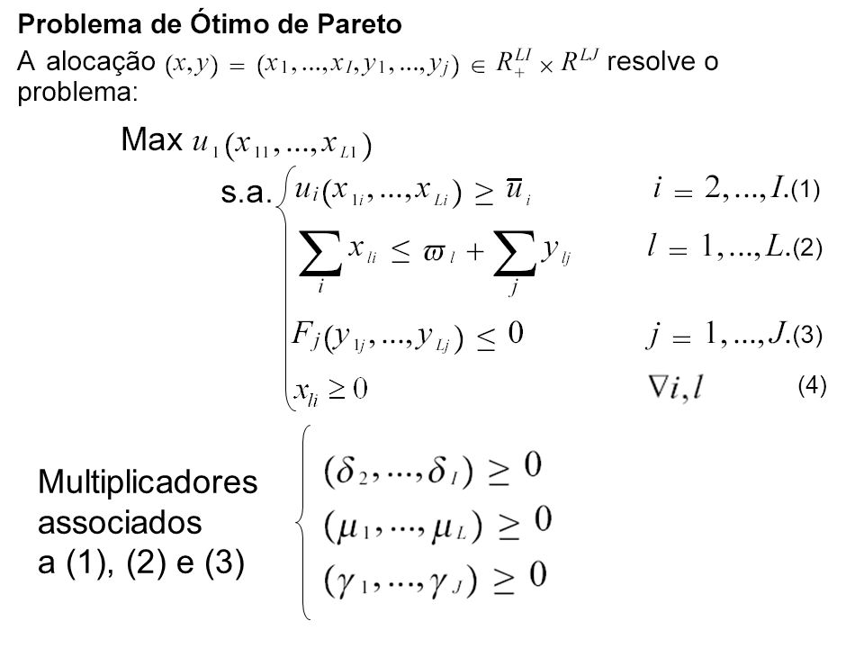 Multiplicadores associados a (1), (2) e (3) (4)