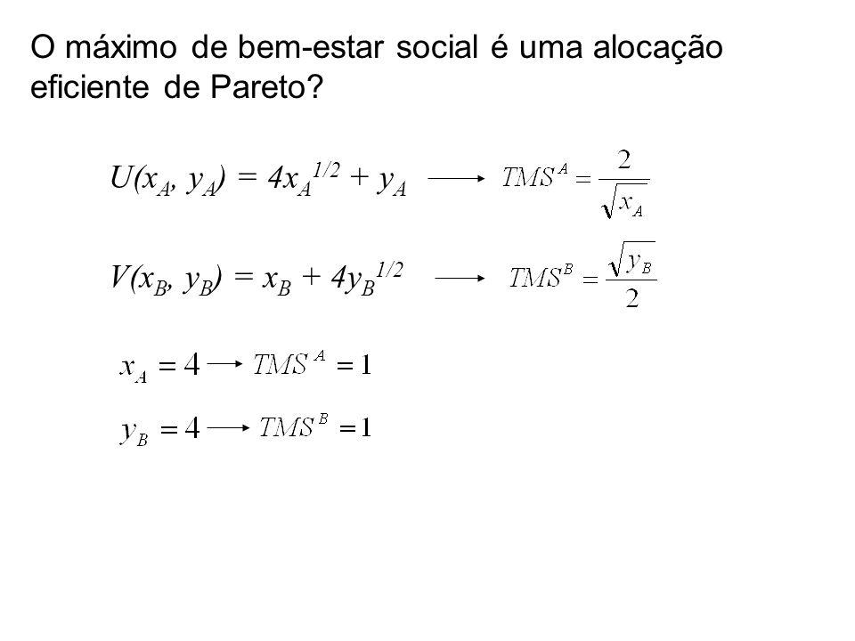 U(x A, y A ) = 4x A 1/2 + y A V(x B, y B ) = x B + 4y B 1/2 O máximo de bem-estar social é uma alocação eficiente de Pareto