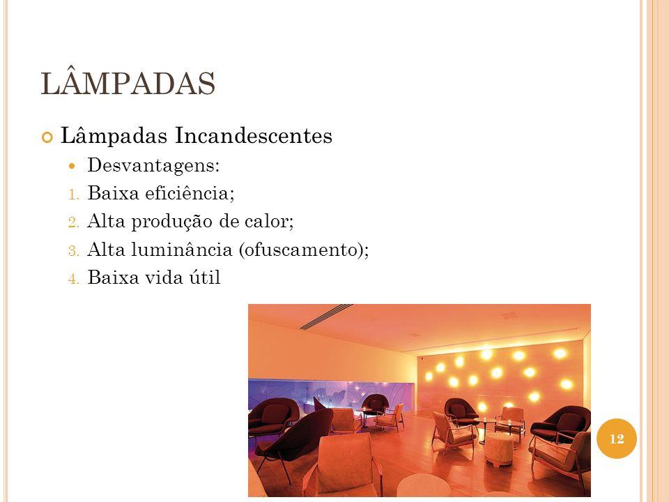 LÂMPADAS Lâmpadas Incandescentes Desvantagens: 1. Baixa eficiência; 2. Alta produção de calor; 3. Alta luminância (ofuscamento); 4. Baixa vida útil 12