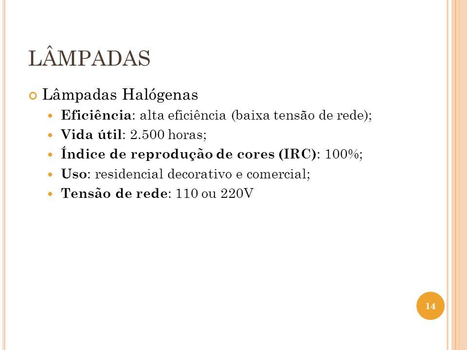 LÂMPADAS Lâmpadas Halógenas Eficiência : alta eficiência (baixa tensão de rede); Vida útil : 2.500 horas; Índice de reprodução de cores (IRC) : 100%;