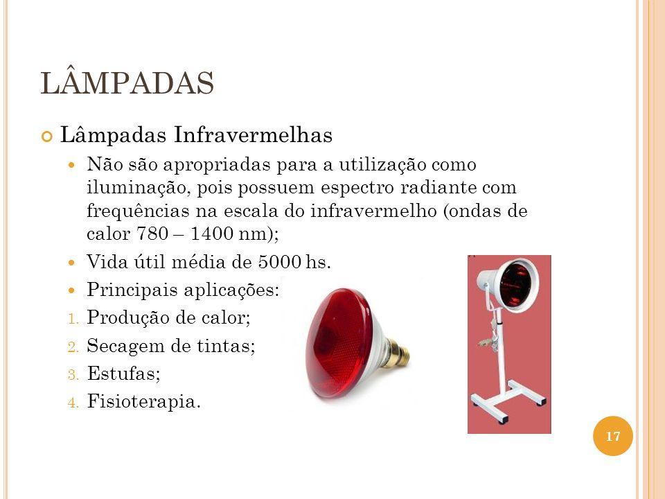 LÂMPADAS Lâmpadas Infravermelhas Não são apropriadas para a utilização como iluminação, pois possuem espectro radiante com frequências na escala do in