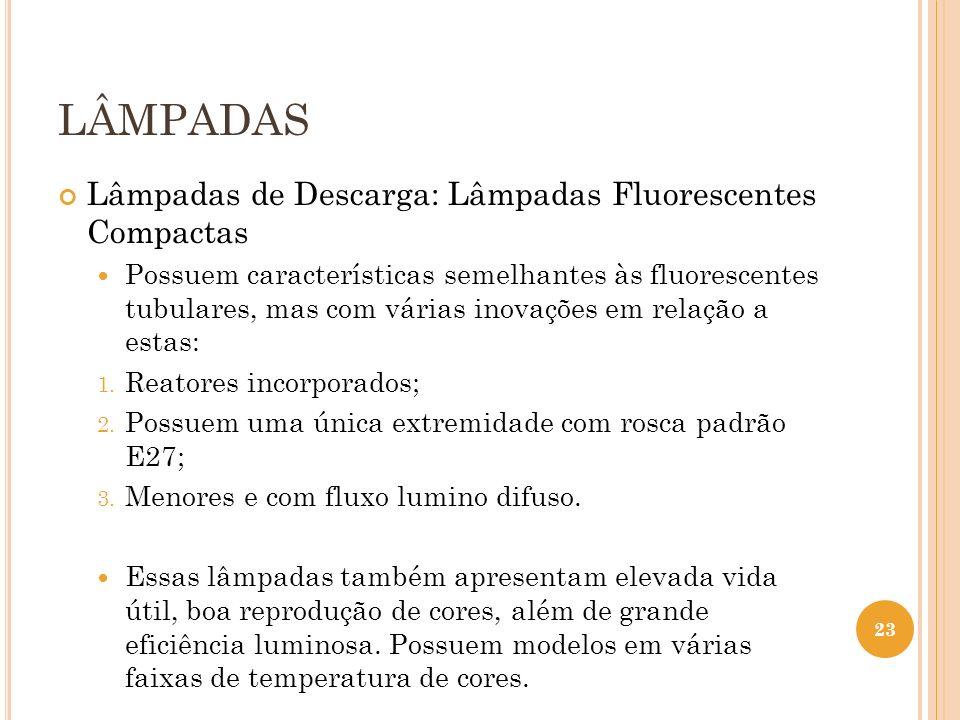 LÂMPADAS Lâmpadas de Descarga: Lâmpadas Fluorescentes Compactas Possuem características semelhantes às fluorescentes tubulares, mas com várias inovaçõ