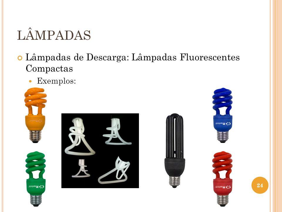 LÂMPADAS Lâmpadas de Descarga: Lâmpadas Fluorescentes Compactas Exemplos: 24