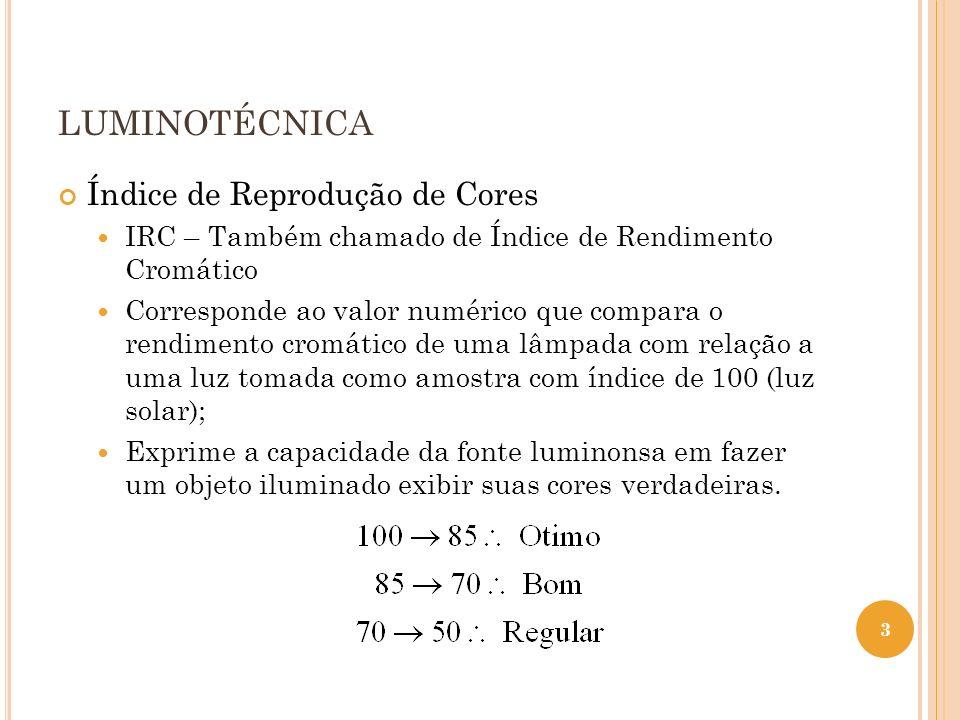 LUMINOTÉCNICA Índice de Reprodução de Cores IRC – Também chamado de Índice de Rendimento Cromático Corresponde ao valor numérico que compara o rendime